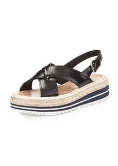 Spazzolato Slingback Sandal, Black   Spazzolato Slingback Sandal, Black