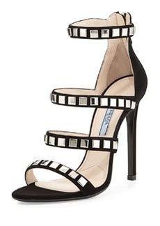 Square-Stud Suede Sandal, Black   Square-Stud Suede Sandal, Black