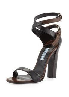 Stacked-Heel Ankle-Wrap Sandal, Black/Brown   Stacked-Heel Ankle-Wrap Sandal, Black/Brown