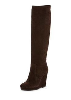 Suede Wedge Knee Boot, Brown   Suede Wedge Knee Boot, Brown