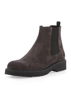 Suede Wing-Tip Chelsea Boot, Anthracite   Suede Wing-Tip Chelsea Boot, Anthracite