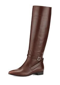 Vitello Flat Knee Boot, Teak   Vitello Flat Knee Boot, Teak