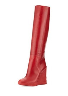 Vitello Leather Rubber-Wedge Knee Boot, Scarlatto   Vitello Leather Rubber-Wedge Knee Boot, Scarlatto
