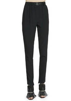 Belted Crepe Track Pants, Black   Belted Crepe Track Pants, Black