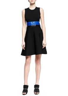 Contrast Whipsnake-Inset Fit-And-Flare Dress, Black Combo   Contrast Whipsnake-Inset Fit-And-Flare Dress, Black Combo