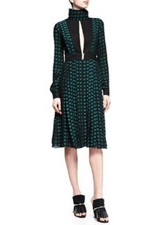 Fil Coupe Slit Square-Dotted Dress, Black/Green   Fil Coupe Slit Square-Dotted Dress, Black/Green