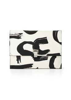 Large Printed Lunch Bag Clutch, Black/White   Large Printed Lunch Bag Clutch, Black/White