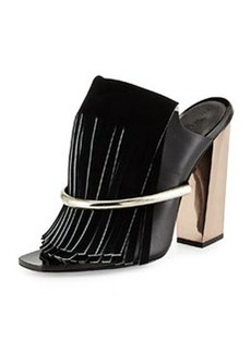 Leather Fringe Banded Mule, Black   Leather Fringe Banded Mule, Black
