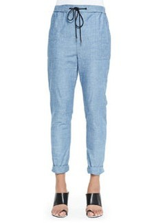 Loose Chambray Pants, Blue   Loose Chambray Pants, Blue