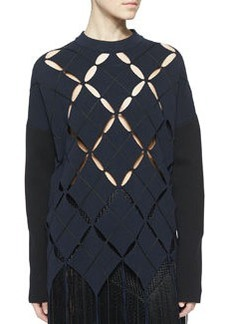 Open Argyle Fringe-Trimmed Top   Open Argyle Fringe-Trimmed Top