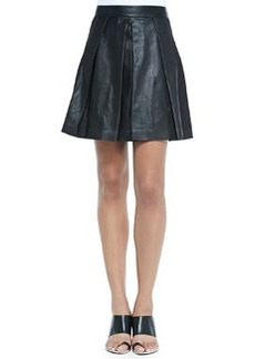 Pleated Leather A-Line Skirt   Pleated Leather A-Line Skirt