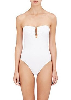 Proenza Schouler Barbell-Closure Bandeau One-Piece Swimsuit