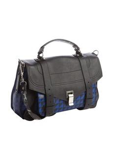 Proenza Schouler black and blue pattern leather medium 'PS 1' convertible shoulder bag