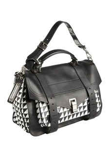 Proenza Schouler black and white houndstooth leather medium 'PS 1' convertible shoulder bag