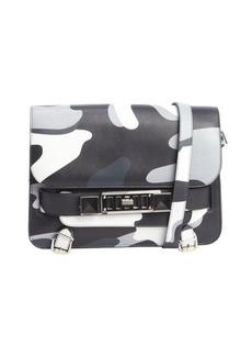 Proenza Schouler black camo silver buckle detail shoulder bag