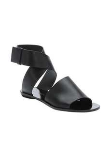 Proenza Schouler black leather ankle wrap flat sandals