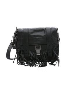 Proenza Schouler black leather 'PS1 Pouch' fringe shoulder bag