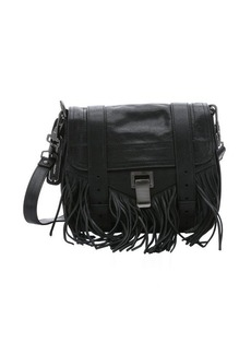 Proenza Schouler black leather 'PS1 Pouch' fringe shoulder bag