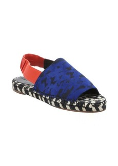 Proenza Schouler blue printed suede and coral leather slingback espadrille sandals