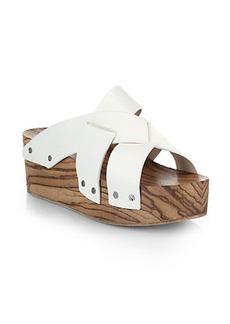 Proenza Schouler Crisscross Leather & Wooden Platform Slides