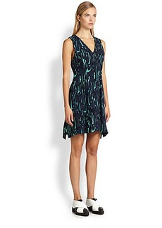 Proenza Schouler Flocked Printed Crepe Dress