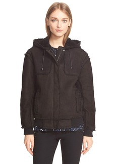 Proenza Schouler Genuine Shearling Bomber Hooded Jacket