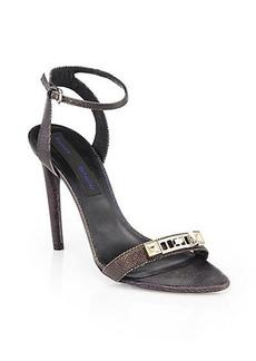Proenza Schouler Iridescent Lizard-Embossed Leather Sandals