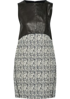 Proenza Schouler Leather and cotton-blend tweed mini dress