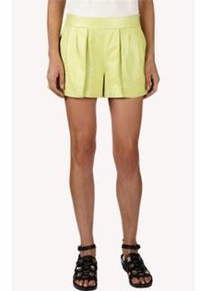 Proenza Schouler Leather Pleat-Front Shorts