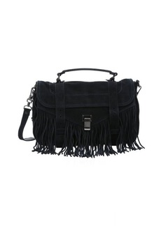 Proenza Schouler navy suede 'PS1' medium fringed convertible satchel