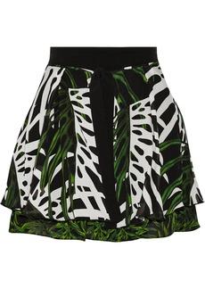 Proenza Schouler Pritned textured-silk mini skirt