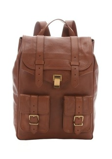 Proenza Schouler saddle brown leather 'PS 1' buckle detail backpack