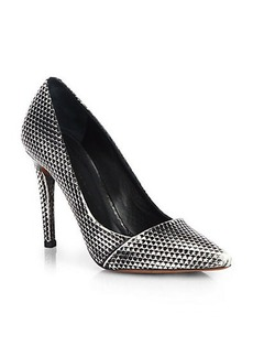 Proenza Schouler Snake Print Metallic Leather Pumps