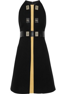 Proenza Schouler Suede-paneled belted crepe dress