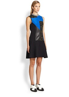 Proenza Schouler Textured Leather Patchwork Dress