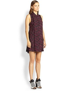 Proenza Schouler Wave-Print Georgette Shirtdress