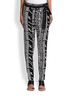 Proenza Schouler Woodblock Crepe Side-Tie Trousers