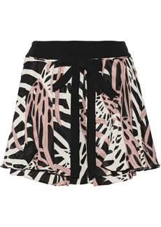 Proenza Schouler Wrap-effect printed silk-chiffon skirt