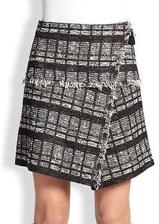 Proenza Schouler Wrap-Front Tweed Skirt