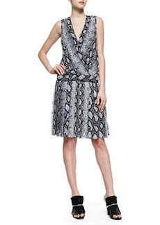Python-Print Drop-Waist Dress, Black/White   Python-Print Drop-Waist Dress, Black/White