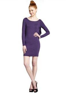 Rachel Pally grape jersey knit open ruffled back 'Jlynn' dress