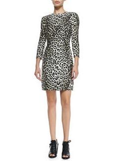 Rag & Bone 3/4-Sleeve Fitted Leopard Dress