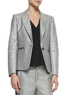 Alpine Wool-Blend Blazer with Zip Pockets   Alpine Wool-Blend Blazer with Zip Pockets