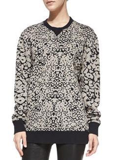 Amoeba-Print Knit Sweatshirt   Amoeba-Print Knit Sweatshirt