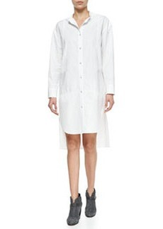 Axis Woven High-Low Cotton Shirtdress, Bright White   Axis Woven High-Low Cotton Shirtdress, Bright White
