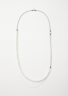 Beaded agate long necklace