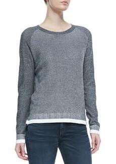 Brenda Combo-Knit Crewneck Sweater   Brenda Combo-Knit Crewneck Sweater