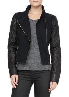 Canvas-Leather Moto Jacket   Canvas-Leather Moto Jacket