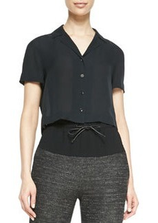 Cropped Button-Front Silk Blouse   Cropped Button-Front Silk Blouse
