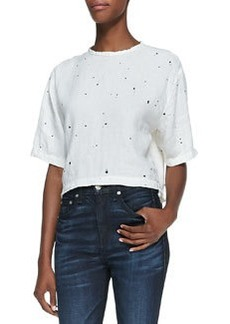 Cropped Half-Sleeve Top, White Splatter   Cropped Half-Sleeve Top, White Splatter